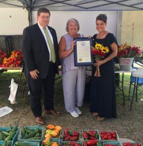 Virginia Ag Commissioner Jewel Bronaugh presents the Virginia Farmers' Market Week proclamation to Virginia Farmers Market Association